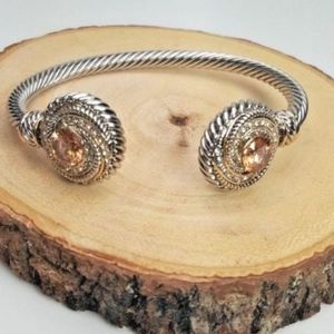 Jewelry - Cable Cuff Bracelet Amber Stone Imitation Rope